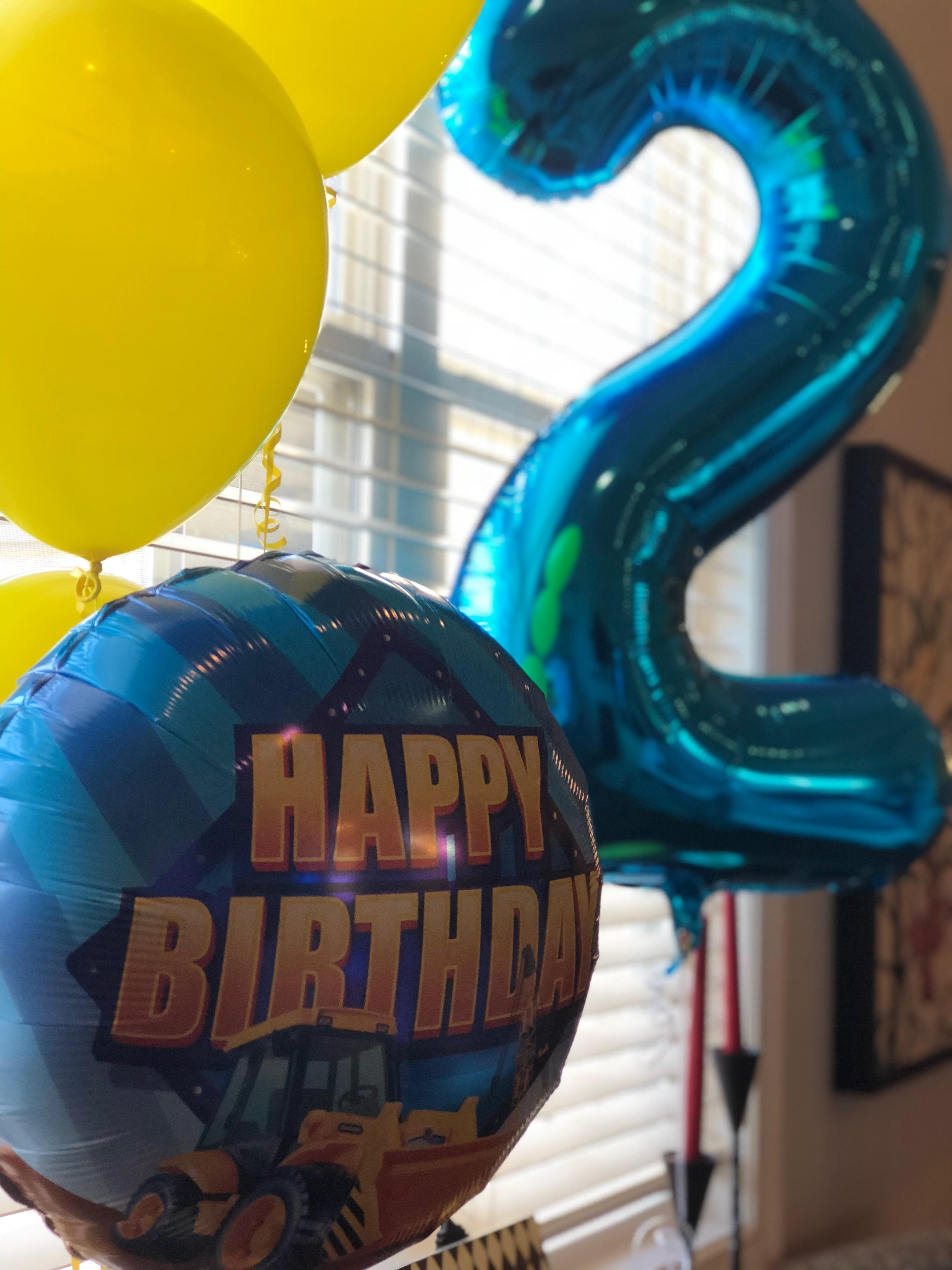 3 foot #2 Balloon and Mylar Balloon
