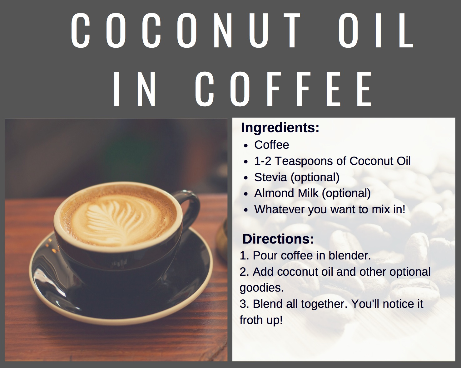 Coconut Oil in coffee can have a host of benefits!