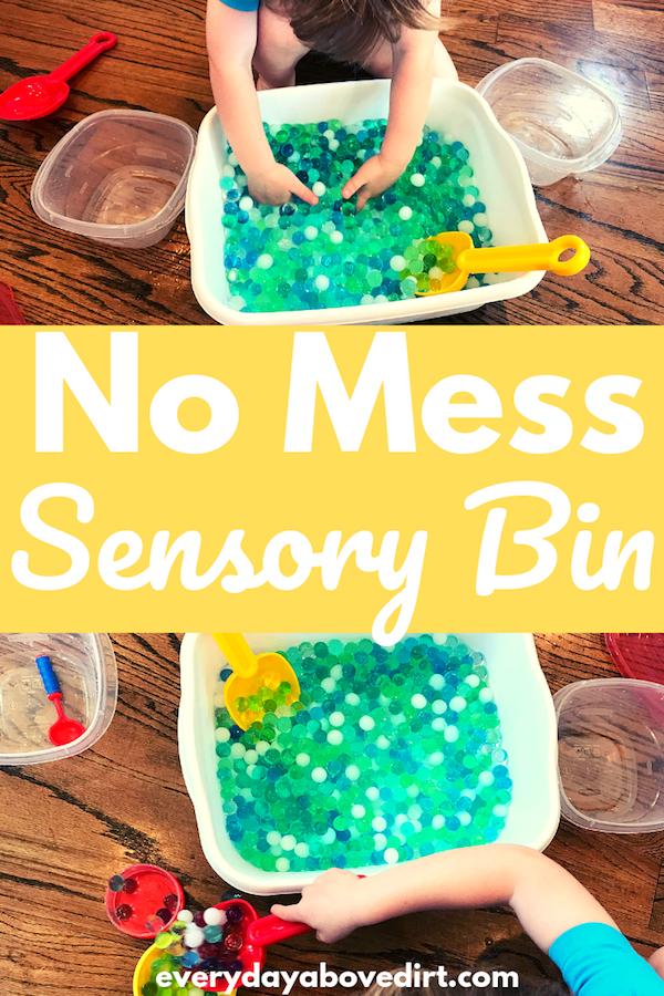 no mess sensory bin