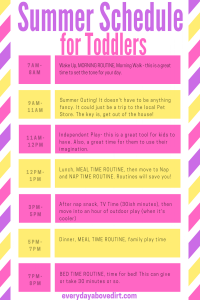 summer schedule for toddlers